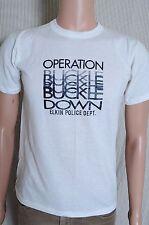 VTG 1980s Operation Buckle Down Elkin Police Dept. soft white t shirt M