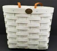 Vintage Peterboro Basket Co. White Bicycle Handlebar Basket Made In USA