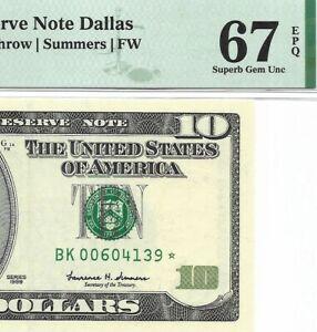 "1999 $10 DALLAS "" STAR "" ⭐️  FRN, PMG SUPERB GEM UNCIRCULATED 67 EPQ BANKNOTE"