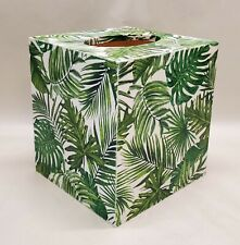Made To Order, Handmade Decoupage Wood Tissue Box Cover, Palm Breeze
