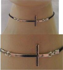 Silver Cross Choker Necklace Handmade Adjustable Black NEW Accessories Fashion