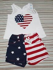 NWT Children's Place Toddler Girls American Flag Tank Top & Shorts Set Size 2T!
