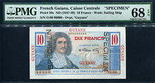 French Guiana 1947-1949, 10 Francs, Specimen, P20s, PMG 68 EPQ UNC only 1 pcs