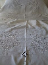 "ANTIQUE LINEN BANQUET TABLECLOTH FIGURAL CUT WORK & EMBROIDERY..66"" X 122"""