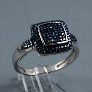 Diamant de Luxe Ring 147 blaue Diamanten 925er Sterling Silber Gr. 59 Gr. 62 NEU