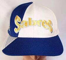 Buffalo Sabres Snapback Hat Vintage NHL Cap AJD White Blue Gold Spell Out Crest