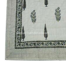 Kantha White Leaf Print Pure 100% Cotton Queen Size Jaipuri Warm Quilt