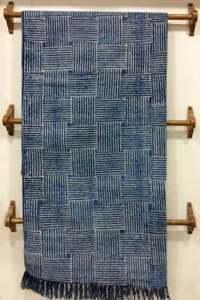2x3 ft Vintage Indigo Blue Rug Dari Cotton Handmade Woven Carpet Area Floor Rug