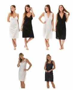 Womens Full Slip Underskirt Cling Resistant Petticoat Black White Size 10-32