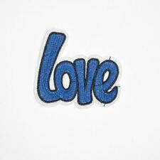 Blue Love Text (Iron On) Embroidery Applique Patch Sew Iron Badge