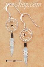 Sterling Silver TINY BLACK DREAMCATCHER EARRINGS