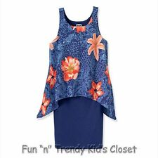 NWT RUUM American Kids Wear Girls Size 7/8 Cobalt Tiger Lily Shark Bite Dress