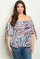 Womens Plus Size Navy Blue Cold Shoulder Tunic Top 3X Animal Print Tie Accent