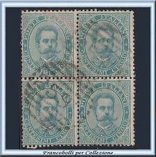 1879 Italia Regno Umberto cent. 5 verde n. 37 Quartina Usata