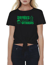 Green Drinks Well with Others Women's Tie Front T-Shirt St. Patrick's Day