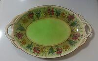 Winton Grimwades Vintage Serving Plate 2 Handled Royal Oval Flowers Floral Gold