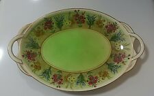 Royal Winton Grimwades Plate 2 Handled Oval Serving  Vintage Flowers Floral Gold