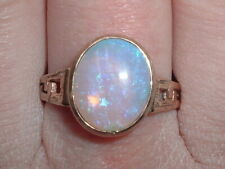 Vintage 9ct Gold Large Solid Opal Ring Free Sizing