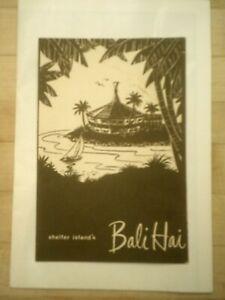 Original Vintage Shelter Island's Bali Hai Tiki Bar Drink Menu Great Graphics