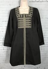 CAbi Jacket Size 4 Turkish Delight Charcoal Military Jacket Beaded Duster Coat