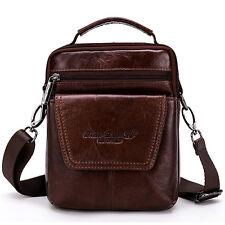 Men's Genuine Leather Small Handbag Purse Satchel Travel Shoulder Messenger Bag