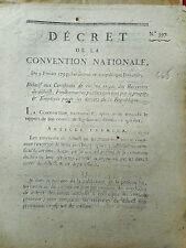 665 LOI & DECRET CONVENTION NATIONALE 1793 CERTIFICAT DE CIVISME FONCTIONNAIRE