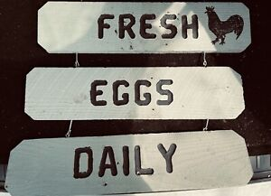 Fresh Eggs Daily Wooden Used Sign