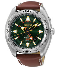 Seiko Prospex Kinetic SUN051 Green Dial Brown Leather Band Men's Watch