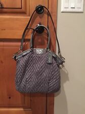 Rare COACH 70th Anniversary Bag Madison Lindsey Nylon Chevron Grey Satchel Purse