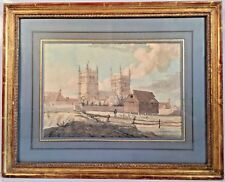 Early Unsigned English School Watercolor Painting Wimborne Minster, Dorset 1790s