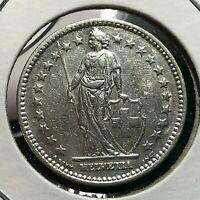 1943 SWITZERLAND 2 SILVER FRANCS HIGH GRADE COIN