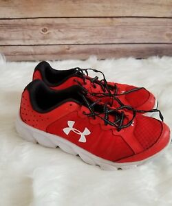 Boys Youth 7 Under Armour Red White Black Assert 6 Athletic Tennis Shoes