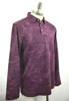 Tommy Bahama Mens Leafing in the Sun Grape Purple Long Sleeve Polo Shirt XL