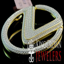 Real Yellow Gold Sterling Silver Lab Diamond Luxury Car Logo Lexus Sign Pendant