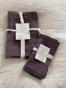 NWT Williams Sonoma Purple Italian Washed Linen Table Runner & Napkins Set