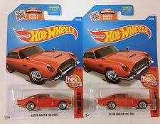 2016 Hot Wheels Aston Martin 1963 DB5 No. 101 Red - Set of 2 - NEW ON CARDS