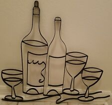 METAL WINE BOTTLES GLASSES CUP MUG WALL ART PLAQUE kitchen cafe chef sign goblet
