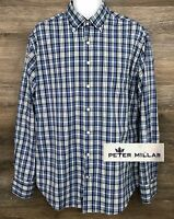 Peter Millar Men's Blue Multi-Color Nylon Plaid Long Sleeve Button Down Shirt L