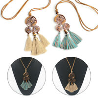 Women Boho Long Tassel Necklace Pendant Sweater Chain Jewelry Accessories Gift