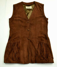 MABRUN 'Riding Crop' Suede Leather Vest 6 (42) Brown Equestrian Jacket Italy