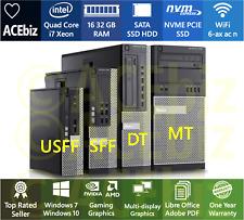 FAST i7 Xeon Desktop Computer PC Gaming WiFi 1yr SSD NVME Windows Dell 9010 7010