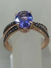 14kt Rose Gold Oval Tanzanite with Diamond Ring