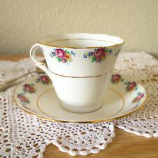 COLCLOUGH Bone China Longton England tea Cup & Saucer Vintage Floral pattern