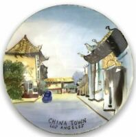 Los Angeles Wall Decor Plate China Town Hand Painted Art
