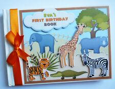 Personalised safari birthday guest book, jungle animals birthday guest book