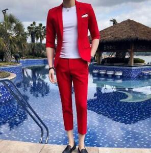 Mens Slim Fit Casual Business 3/4Sleeved Cropped 2PCS Jacket+Pants Soild Color