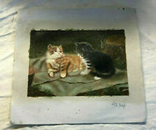 Antique Vintage Oil On Canvas Painting Of  Two Cats - NO RESERVE