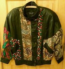 Pelle New York Milano Black Leather Small Woman Multi Color Print Spring Jacket