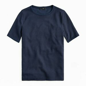 J.Crew Waffle T-Shirt Womens Slim Fit Short Sleeve Slightly Sheer Navy Blue Tee