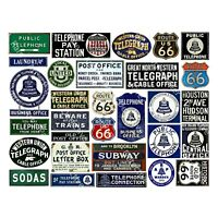 Telephone, Telegram & Telegraph Sign Stickers, Mini Travel Labels , 1 Sheet